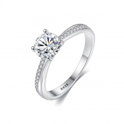 Cubic Zirconia Solitaire Rings Sterling Silver Band Rings