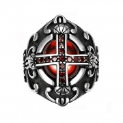 Stainless Steel Mens Rings Vintage Cross Knight Rings with Red CZ