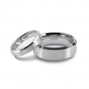 Couple Wedding Rings Brushed Silver Tungsten Rings
