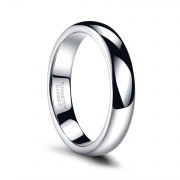 White Thin Tungsten Polished Classic Wedding Bands 4mm