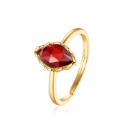 Red Natural Gemstones Adjustable Engagement Rings in 925 Sterling Silver
