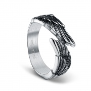 Vintage Wedding Bands Black Stainless Steel Rings with Feather Angel Wing