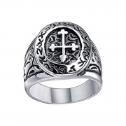 Mens Cross Rings Stainless Steel Antique Style