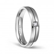 Silver and CZ Titanium Wedding Engagement Band Sets for Men 5mm