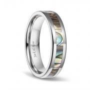 Abalone Shell Titanium Wedding Ring Sets for Men Women 6mm