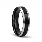 Black High Polished Titanium Wedding Band with Silver Edge 6mm 8mm