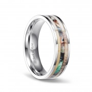 Camo Titanium Rings with Deer Antler Compfort Fit