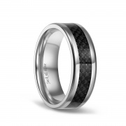 Carbon Fiber Inlay Black Titanium Mens Wedding Bands 8mm