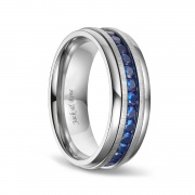Blue Cubic Zirconia Titanium Wedding Bands for Men 8mm