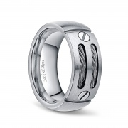 Mens Silver and Black Titanium Ring with Cable Inlay 8mm