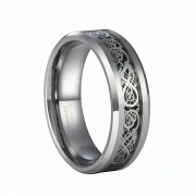 Celtic Dragon Inlay Tungsten Wedding Bands for him