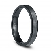 Unisex Plain Ceramic Rings Black with Brushed Center 4mm - 8mm