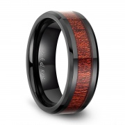 Mens Ceramic Rings Mahogany Wood Inlay Antique Style