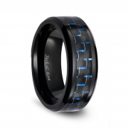 Black Ceramic Rings with Blue Carbon Fiber Fashion Engagement Rings 8mm
