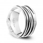 Unique Sterling Silver Rings Wide Ripple Brushed Oxidized Finish Vintage Wedding Bands