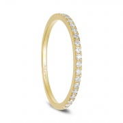 Gold Womens Sterling Silver Rings CZs Eternity Stackable Ring 2mm