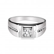 Mens Engagement Rings Sterling Silver Rings Inlaid Cubic Zirconia