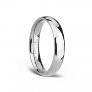 White Plain Titanium Wedding Bands for Men Women with Dome Polished 4mm