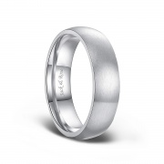 Dome Brushed Titanium Rings for Men 6mm