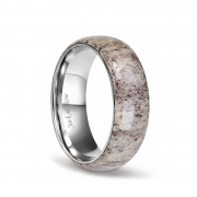 Titanium Wedding Rings with Dome Deer Antler for men 8mm