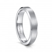 Silver Tungsten Wedding Bands for Men Women Brushed Center and Beveled Edge - 4mm