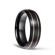 Domed Brushed Black Tungsten Ring with Rose Gold Thin Grooved