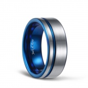 White Brushed Tungsten Rings with Thin Side Blue Grooved Comfort Fit 8mm -01