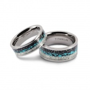 Engagement Rings Couple Set Inlaid Turquoise