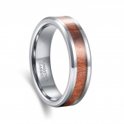 Silver Tungsten Carbide Ring Koa Wood Inlay Polished Vintage Style 6mm