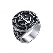 Stainless Steel Black Sailor Rope Anchor Ring