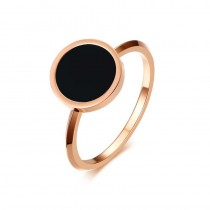 Rose Gold Stainless Steel Rings for her with Round Black Enamel