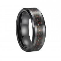 Mens Ceramic Wedding Rings with Red & Black Carbon Fiber