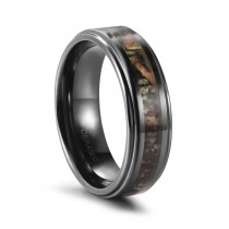 Ceramic Mens Wedding Rings Polished with Real Tree Camo Inlay
