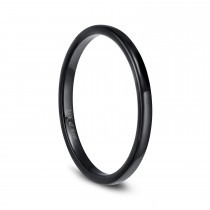 Black Mens Womens Ceramic Rings High Polished Dome Simple Style 2mm - 6mm