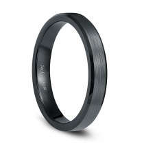Unisex Plain Ceramic Rings Black with Brushed Center 4mm - 8mm