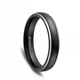 Black Titanium Domed Wedding Bands with Silver Edge