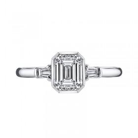 Sterling Silver Emerald Cut Sona Diamond Wedding Bands