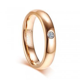 Tungsten Rose Gold Wedding Bands 4mm with CZ