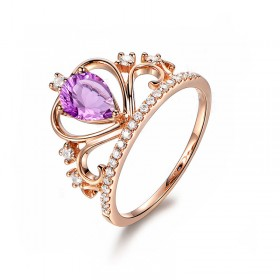 Amethyst Promise Rings Rose Gold Princess Ring