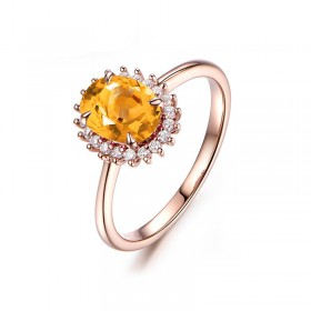 Rose Gold Natural Citrine Engagement Ring in Sterling Silver