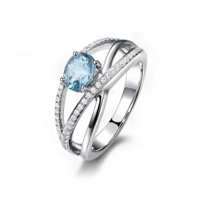 Sterling Silver Natural Topaz Ring with Simulated Diamond