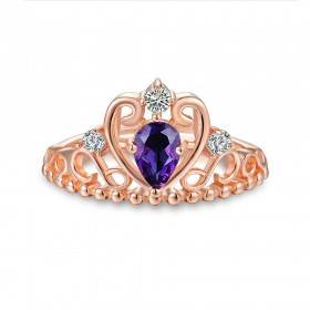Rose Gold Natural Amethyst Sterling Silver Princess Crown Rings