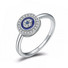 Evil Eye 925 Sterling Silver Rings Silver and Blue
