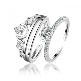 Princess Crown Stacking Rings Set in Sterling Silver