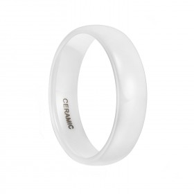 White Ceramic Rings High Polished Classic Design