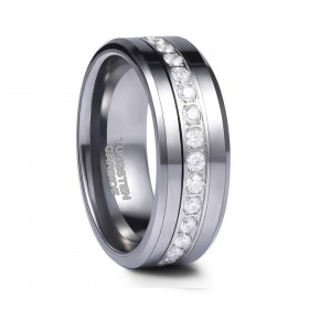 Silver Tungsten Rings with Cubic Zirconia Inlay