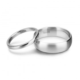 Simple Sterling Silver Matching Couple Rings Set