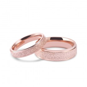 Matte Rose Gold Stainless/Titanium Steel Couple Rings