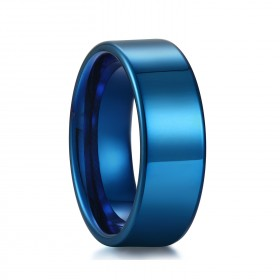 Blue Tungsten Ring with Flat Edge for men