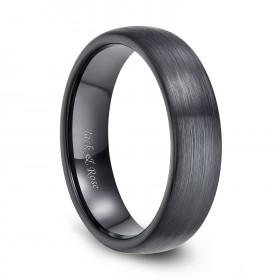 6mm 8mm Ceramic Rings Black Brushed Flat Plain Style Comfort Fit